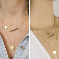 New Fashion Bohemian multilevel necklaces metal triangle necklaces for women AN438