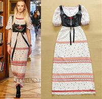 Europe High Street Fashion Women Long Maxi Dress 2 Piece Set Short Sleeve Print Maxi Summer Dress Vestidos De Verao Feminino