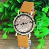 2015 Hot Sale WoMaGe Vintage Watch Women Quartz Analog Watch with Scrub Leather Strap Women Wrist Watches relogio feminino