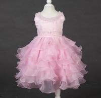 2015 new girl dress multilayer pearl pearl collar belt decorative pattern girls princess dress wedding dress free shipping