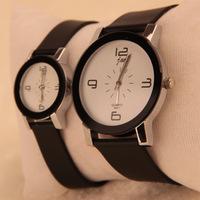 2015 korean men/women students watch Sports leather band Business Quartz calibre Analog wristwatch couple relogios/clock watches