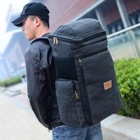 Men's canvas bag large capacity multi-purpose shoulder bag female tourist outdoor camping backpack men free shipping