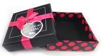 Free shipping New arrival  square10*10cm jewelry bracelet bangle or bangle set box  fuchsia dot ribbon bowknot,holiday gift box