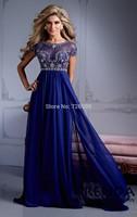 HYL New Noble Blue Exquisite Beading A-Line Evening Dresses Chiffon Short Sleeve Floor-Length Prom Dresses Custom Size