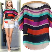Fashion plus size multicolour stripe batwing shirt T-shirt loose irregular colorful stripe short-sleeve chiffon shirt