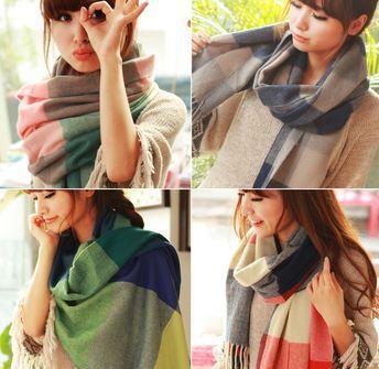 Women winter Scarf Fashion Wool Spain Desigual Scarf tartan plaid Thick Scarves Shawl stretch magic scarf salomon(China (Mainland))