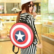 2015 New Captain America shield faux leather unisex backpacks brand fashion geometric print roll girls school bags satchels (China (Mainland))