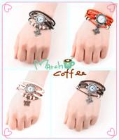 Fashion Butterfly Bracelet Watch Wristwatches Genuine Leather Vintage Quartz Movement Wrist Watch for Girl Women