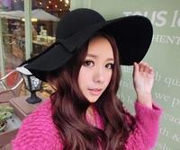 2015 fashion lady wide brim faux wool felt hat cheap korea style