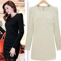 2015 New vestidos autumn winter dress Slim O-neck long-sleeved office casual dress pattern beads bottoming women dress wholesale
