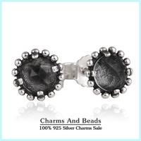 2015 New 925 Sterling Silver Flower Stud Earrings With Gray Big Zircon Fashion Earrings For Women Jewelry Accessories SH0557