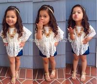 2015 new kids clothes baby girls white lace bat sleeve mini dress childer girls clothing top shirt  girls dresses free shipping