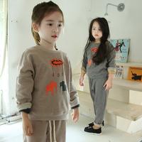 Autumn Girls Clothing Sets Casual Tracksuits Kids Sport Suits Brand Cartoon Long Sleeve TShirt +Pants 2PCS Children's Set CS485