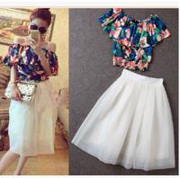 Women Flower Print Chiffon Ruffles Blouse+ White Layers Knee Length Gauze Skirt 2 Pieces Set Summer High Waist Skirt Suit