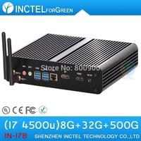 Intel I7 4500u 4650u fanless mini pc with haswell architecture 1.8Ghz USB 3.0 HDMI 8G RAM 32G SSD  500G HDD Windows or Linux