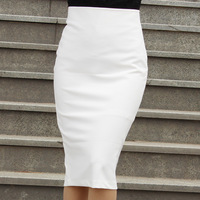women spring and summer sexy slim high waist knee-length split black pencil skirts female solid skirt womens faldas