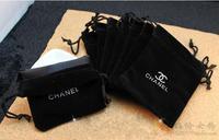 on sale, 50pcs/lot , 8*10 cm,square shape, C-brand  jewelry  black  color pouches