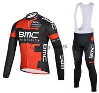 Free shipping! BMC 2014 red long sleeve autumn bib cycling wear clothes bicycle bike cycling jersey bib pants set+gel pad