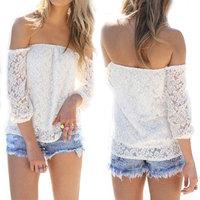 2015 Summer Women's Clothing Sexy Women's Long Sleeve Hollow Off Shoulder Boho Lace T Shirt Tops Blouse blusas femininas camisa