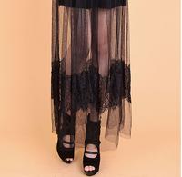 2015 New Sexy Lace Skirts Women Casual Long Skirts Female Vintage Chiffon Skirt Summer Ladies Black Skirts Fashion Tutu Skirt