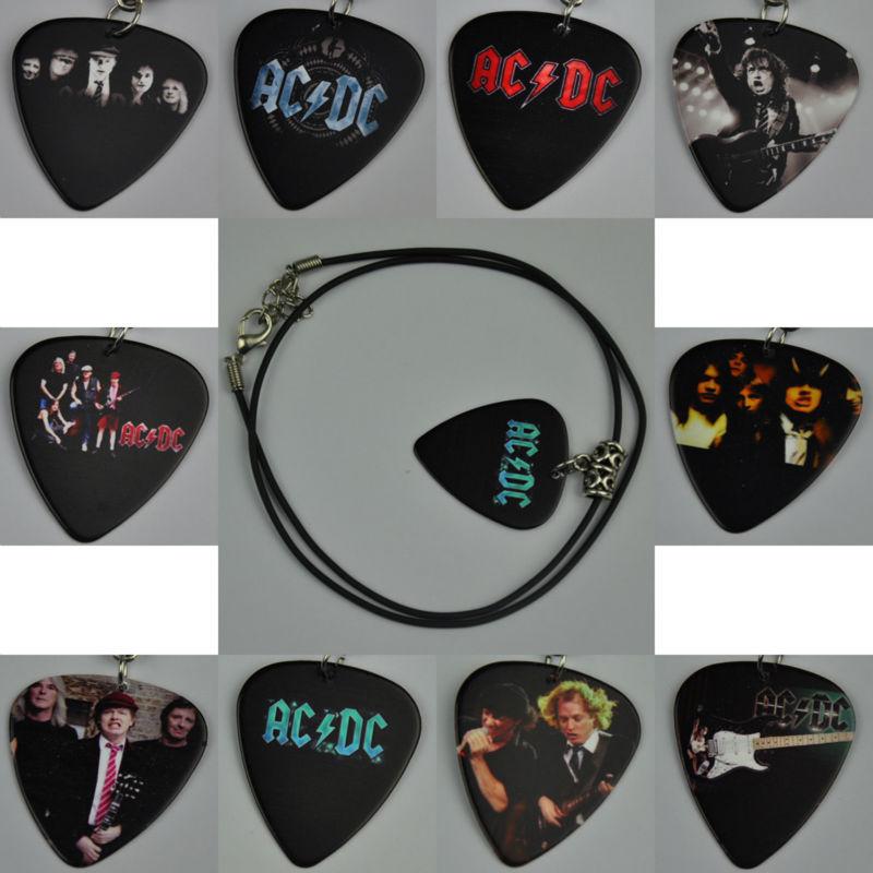 Wholesale 10Pcs Rock Band ACDC AC/DC Guitar Pick Necklace , Tibetan Silver Pendant Leather Cord(China (Mainland))