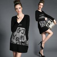 XL-4XL Brand 2015 Spring Women Black Letter Print Straight Casual Dresses Lady Long sleeve Pocket Dress Big size XXXL vestidos