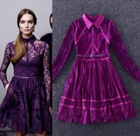 Best Quality New Fashion Party Dress 2015 Spring Women Turn-Down Collar Long Sleeve Party Lace Dress Elegant Pretty Woman Dress
