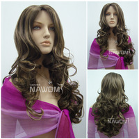Free Shipping Nowomi Wig 100% Kanekalon Synthetic 25'' long Blonde Curly Wig NAWOMI Hair Retail Girls Lady Woman Hairpiece W3413