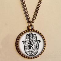 Wholesale 6$ Fatima Hamsa Hand Charm Evil Eye Necklace Yinyang Charms Mandala Art Glass Pendant Jewelry Chain Gift Vintage lot