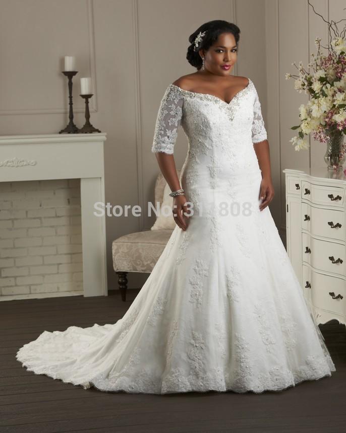 Plus size long sleeve lace wedding dresses