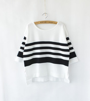 2015 new fashion summer autumn turtleneck short sleeves Irregular loose sweater black and white striped knit Tops WST25