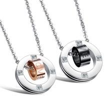 OPK Romantic Lovers LOVE Pendant Necklaces Fashion 316L Stainless Steel AAA CZ Diamond Women Men Jewelry