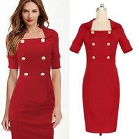 Office Dress Women Red Short Sleeve Summer OL Dresses Pencil Dress 2015 Women Summer Clothing