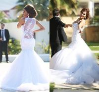 Fashionable Celebrity Vestido De Novia Mermaid White Wedding Dresses Custom Made Bride Vestidos New Bridal Gowns 2015 Hot Sale