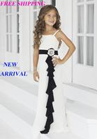 80 2015 chiffon black bow white flower girl dresses for weddings girls pageant dresses prom dress custom made 2015