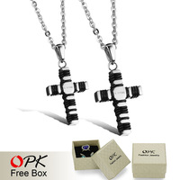 OPK Classical Lovers' Cross Pendant Necklaces Fashion Full 316L Stainless Steel + Genuine Silicone Women/Men Jewelry GX951