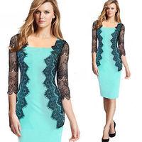 Fashion Elegant Womens European Style Autumn bodycon Pencil Dress party dresses 7 points sleeve knee-length dress