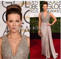 72nd Annual Golden Globes Awards A-Line V Neck Chiffon Floor Length Sequins Prom Dress Red Carpet Dress