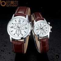 Nary Brand Leather Quartz Watch Analog Black and Brown Face Dress Women and Men Wristwatch Clock WA5003