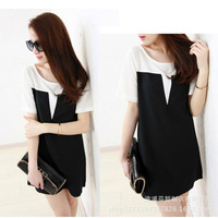 Best Price New Summer Dresses 2015 Hot Womens Shirt dress Chiffon Tee Shirt Blouse  For Ladies