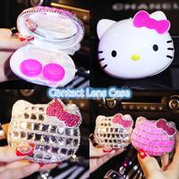 Bling Crystal Cute Travel Contact Lens Case  Kit Holder Mirror Box Handmade Hello Cat Case