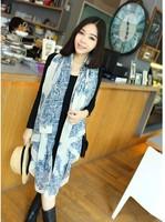 Min Order $15(mixed order) 2015 New China's wind  Blue and white porcelain Fashion Women brand chiffon long Scarf  shawl 1149 al