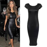 PU Leather Dress Women Summer Tight Fitting Black Dress 2015 Fashion Pencil Dresses Women's Clothing Hot Sale