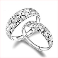 2015 new The stars 925 Sterling Silver Ring Fine Fashion Cute Square Jewerly Ring Women&Men Finger Rings Top Quality 1lot/2PCS