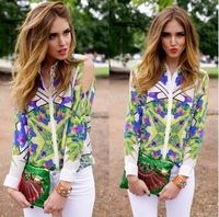 Free shipping 2015 Sexy Personality off-the-shoulder turn-down collar Geometric print shirt for women