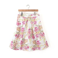 2015 Ladies Sweet Skirt Floral Printed Skirt With Big Hem Ball Gown Women Cultivate Morality Skirts  EC9269