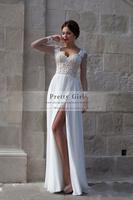 Romantic Lace Boho Long Sleeve Wedding Dresses 2015 Vestido De Noiva Appliques Sexy See Through Cheap Wedding Gowns Bridal Dress