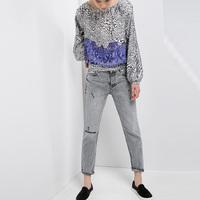 2015 Sexy Women Blouse Leopard Printed Shirt Long Sleeve O-Neck Tops Leisure Women Blouse EC9272
