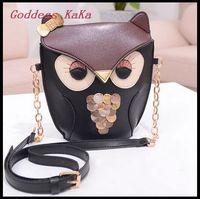 Fashion Korean Sweet Cute Girl Crossbody Bag Cartoon Owl PU Leather Shoulder Bag for women bolsas feminina free ship MG008
