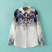 2015 European and American women's new fashion was thin chiffon collar shirt positioning NA1816